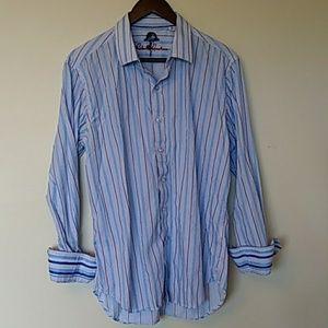 Robert Graham long sleeve men's striped shirt M
